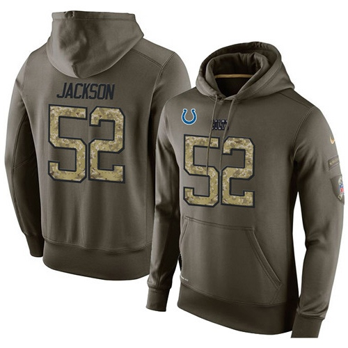 Nike Indianapolis Colts 52 D'Qwell Jackson Green Salute To Service Pullover Hoodie